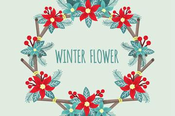 彩色冬季一品红花环设计矢量素材