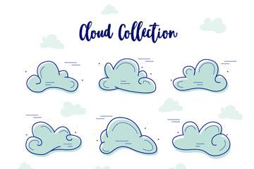 9款手绘卡通云朵设计矢量素材
