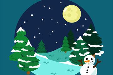 卡通冬季森林和雪人月亮矢量图