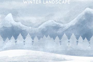 水彩绘冬季山峰自然风景矢量素材