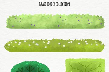 4款水彩绘草坪和灌木设计矢量图