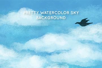 水彩绘云朵天空和鸟矢量素材