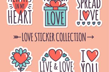 6款创意爱的贴纸矢量素材