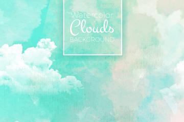 水彩绘梦幻云朵天空矢量图