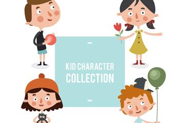 4款卡通大头儿童设计矢量素材