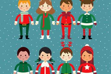 8款圣诞节儿童装扮设计矢量素材