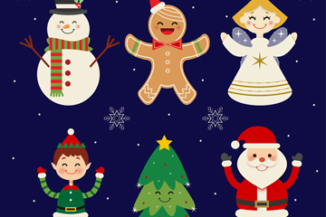 6款可爱圣诞节元素矢量素材
