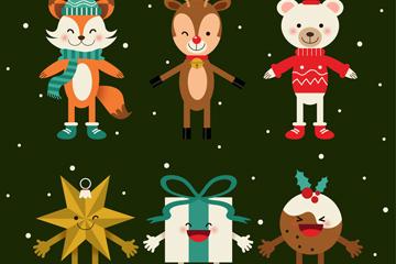 6款创意笑脸圣诞角色矢量素材