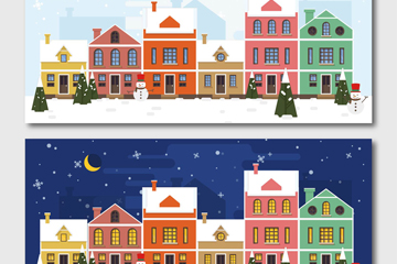 2款圣诞小城白天和黑夜矢量图