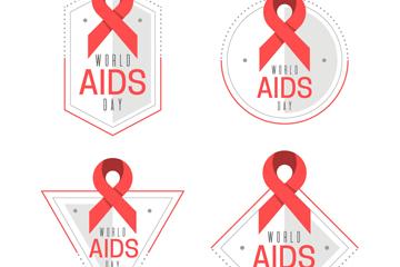 4款创意世界艾滋病日标签矢量图