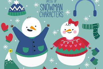 2个可爱雪人和9款装扮饰品矢量图