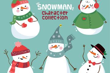 5款可爱雪人形象设计矢量素材