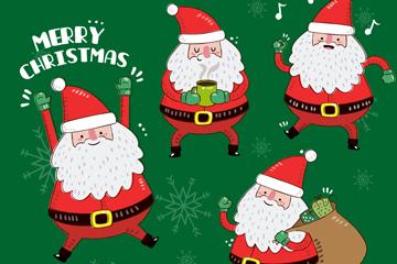 4款动感圣诞老人矢量素材