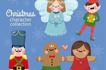 5款可爱圣诞角色矢量素材
