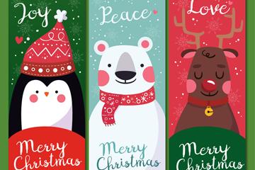 3款可爱圣诞角色banner矢量素材