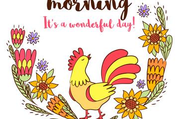 彩色公鸡和花卉矢量素材