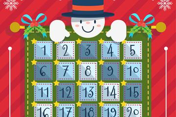 可爱雪人圣诞月月历矢量图