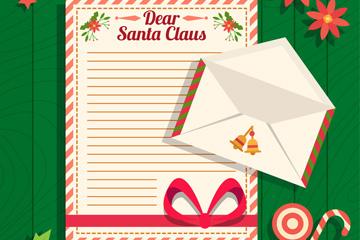 创意空白写给圣诞老人的信矢量素材