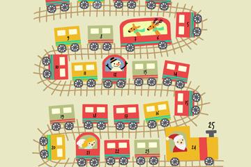 可爱圣诞小火车月历矢量素材