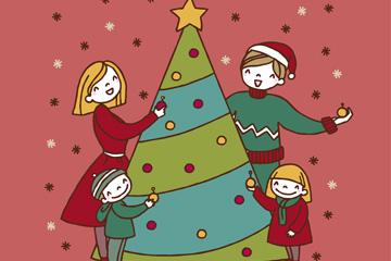 彩绘圣诞树和四口之家矢量图