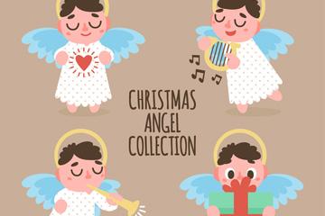 4款可爱圣诞天使形象设计矢量图