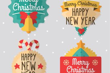 4款扁平化圣诞节标签矢量图