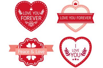 4款红色爱的贴纸矢量素材