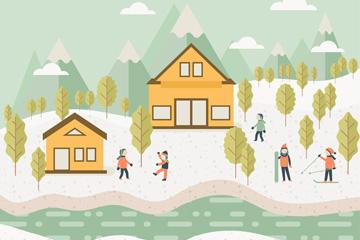 扁平化滑雪旅行地风景和5个人物矢量素材