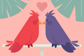 2只对视的卡通情侣鸟矢量素材