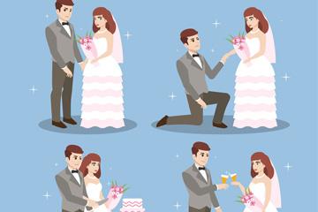 4种卡通新郎和新娘情景设计矢量素材
