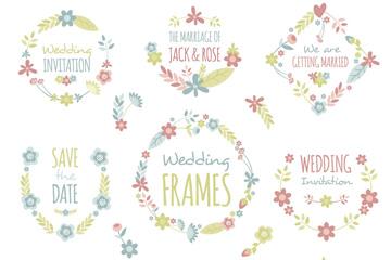 9款彩色婚礼花卉框架矢量图