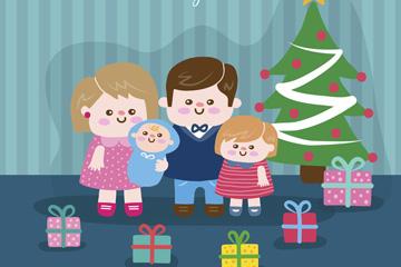 可爱圣诞节四口之家矢量图
