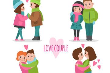 4款卡通甜蜜情侣矢量素材