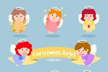 8款可爱圣诞小天使矢量图