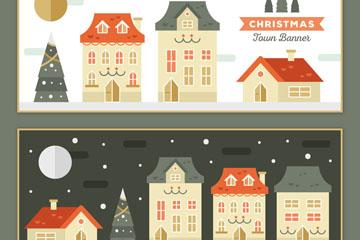 2款彩色圣诞小镇房屋banner矢量图