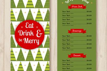 绿色圣诞树圣诞节菜单矢量图