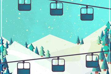 创意雪山和滑雪缆车风景矢量图
