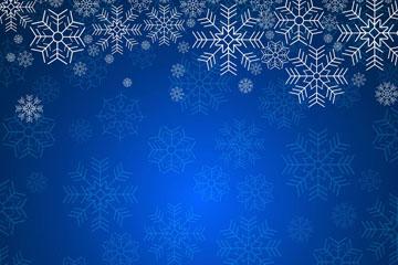 白色雪花蓝底背景矢量图