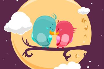 夜晚树枝上依偎的情侣鸟矢量图