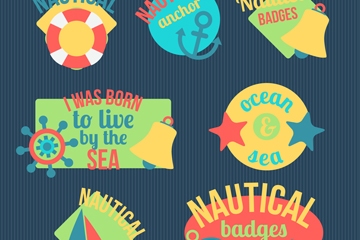 7款创意航海标签矢量素材