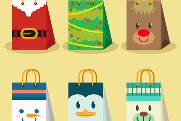 6款可爱表情圣诞节购物袋矢量图