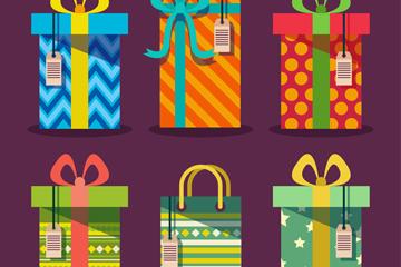 6款彩色花纹节日礼盒矢量图