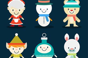 6款可爱卡通圣诞角色矢量素材