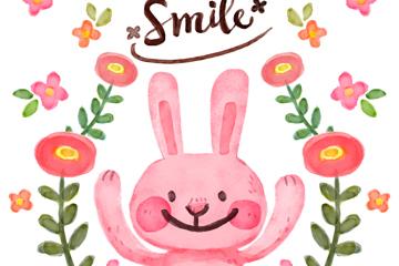 水彩绘粉色兔子和花卉矢量图