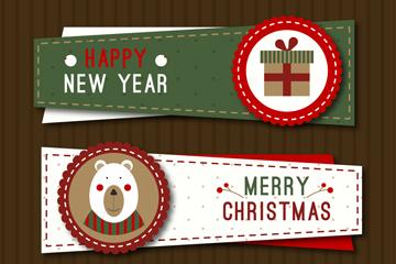 3款可爱圣诞节和新年banner矢量图