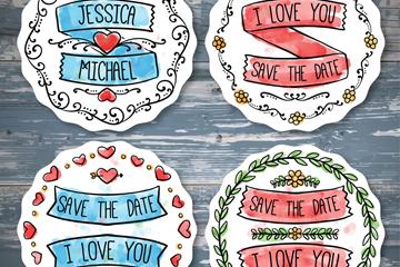 4款彩绘婚礼标签矢量素材