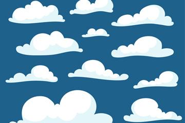11款白色云朵设计矢量图