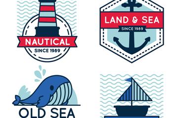 4款创意航海标签矢量素材