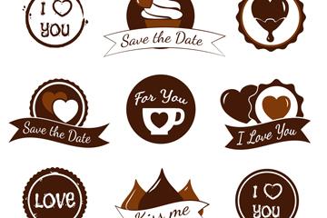 9款咖啡和巧克力元素婚礼标签矢量图