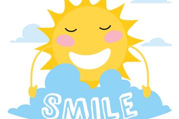 可爱云朵后的笑脸太阳矢量图